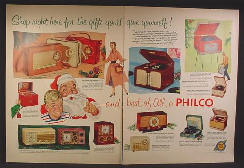 Magazine Ad For Philco Radios & Record Players, 14 Different Models Shown, 1955, Double Page