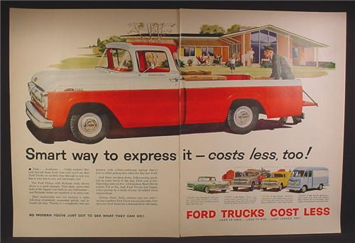 Magazine Ad For Ford Trucks, Large Custom Cab F-100 Pickup, Commercial Van, 1957, Double Page Ad