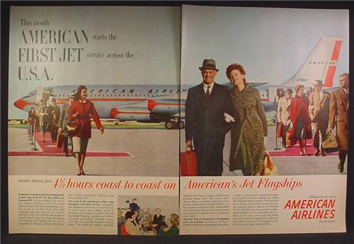Magazine Ad For American Airlines Boeing 707, Passengers Disembarking From Front & Back, 1959