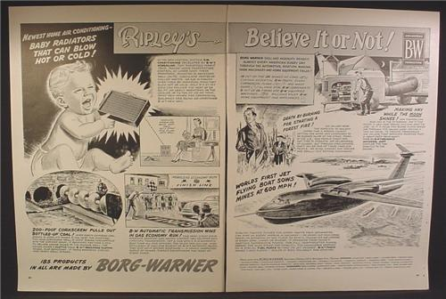 Magazine Ad For Borg Warner Ripley's Believe It Or Not, Baby Radiators, 1955, Double Page Ad