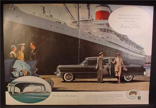 Magazine Ad For Fisher Panoramic Windshield, Cadillac Car in Front of S.S. United States Ship, 1955