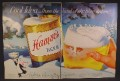 Magazine Ad For Hamm's Beer, Huge Can & Glass in Snow, Bear with Case, 1956, Double Page Ad