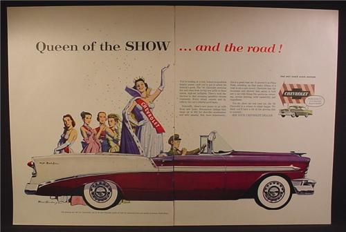 Magazine Ad For Chevrolet Bel Air Car, Chauffer & Queen Of The Show, 1956, Double Page Ad