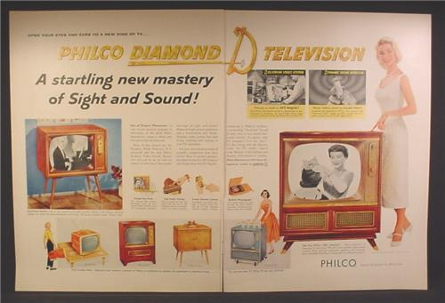 Magazine Ad For Philco Diamond D Television, 6 Models, Miss America, 1956, Double Page Ad