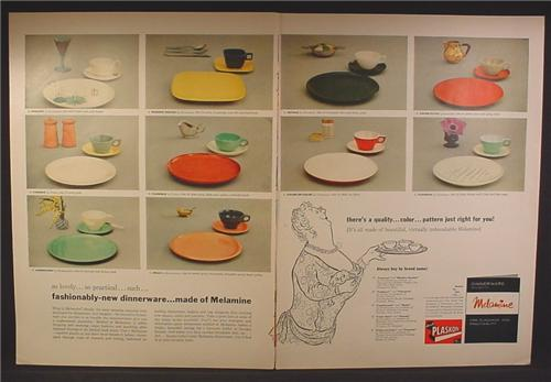 Magazine Ad For Plaskon Melamine Dinnerware, 10 Colors & Patterns, 1956, Double Page Ad