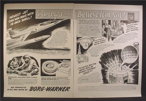 Magazine Ad For Borg Warner Ripley's Believe It Or Not, Prehistoric Handyman Wooden Saw, 1956
