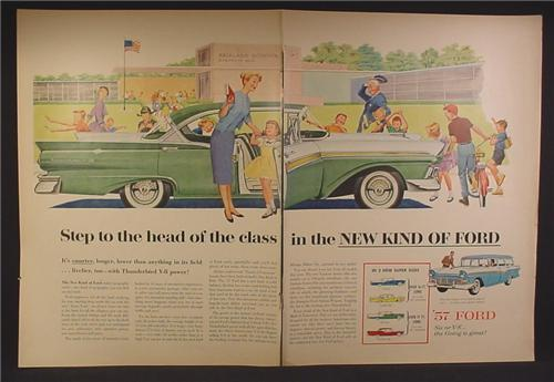 Magazine Ad For Ford Fairlane 500 Car, Parked In Front of Fairlane School, Lots of Admirers, 1956