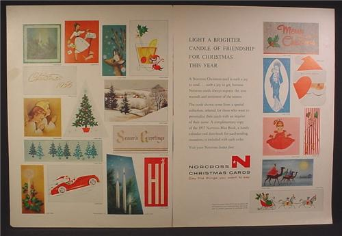 Magazine Ad For Norcross Christmas Cards, Greeting Cards, 21 Vintage Cards Pictured, 1956