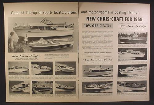 Magazine Ad For Chris Craft Yachts Boats & Cruisers, Sea Skiffs, Chris-Craft, 14 Models, 1957