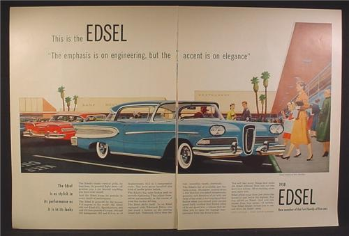 Magazine Ad For Ford Edsel Citation 2 Door Car, At Shopping Mall, 1957, Double Page Ad