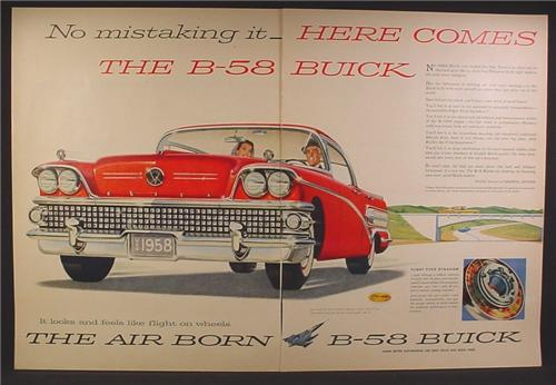 Magazine Ad For 1958 Buick B-58 Car, B58, Red Car, Front & Side View, 1957, Double Page Ad