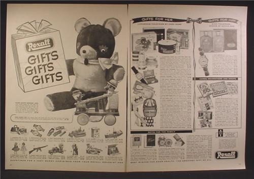Magazine Ad For Rexall Drug Stores, Toys, Gifts For Her & Him, Family Gifts, 1957, Double Page Ad