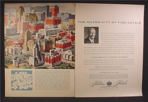 Magazine Ad For Hilton City of Hotels, 29 Different Hilton Hotels Create a Cityscape, 1957