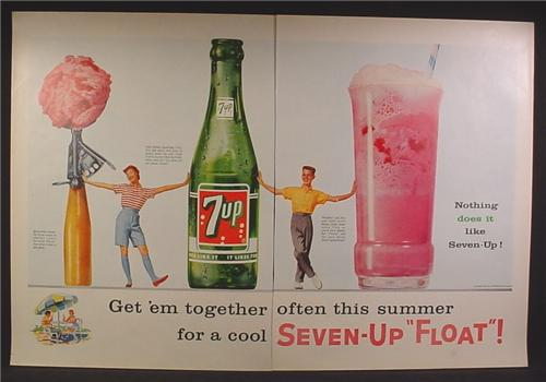 Magazine Ad For 7UP Seven-Up, Giant Bottle, Scoop Of Ice Cream, Ice Cream Float, 1957