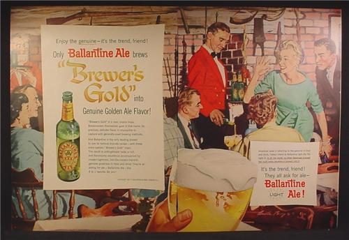 Magazine Ad For Ballantine Ale XXX Beer, Rustic Restaurant, It's The Trend Friend, 1957