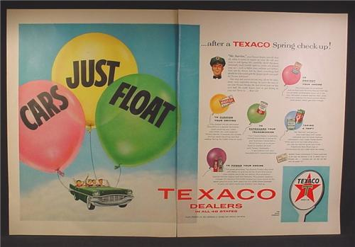 Magazine Ad For Texaco Dealers, Cars Just Float After a Texaco Spring Checkup, 1957, Double Page Ad