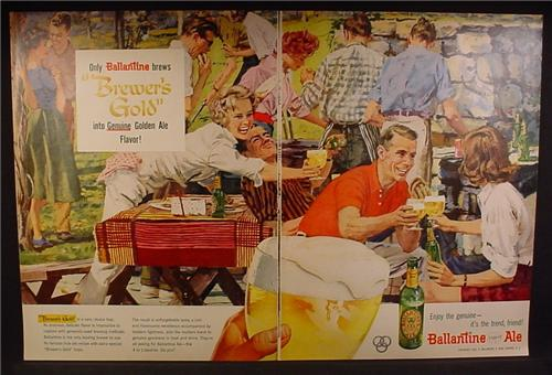 Magazine Ad For Ballantine Ale XXX Beer, BBQ Picnic, It's The Trend Friend, 1957, Double Page Ad
