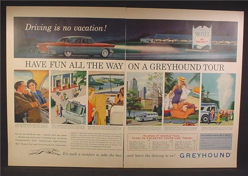 Magazine Ad For Greyhound Bus Lines, Have Fun All The Way On A Greyhound Tour, 1957