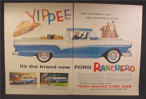 Magazine Ad For Ford Ranchero Car Truck, Cowboys, Yippee, 1957, Double Page Ad