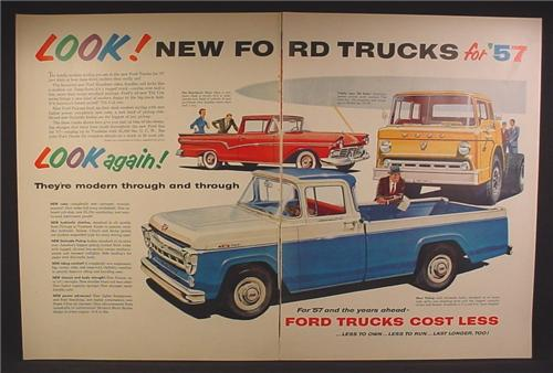 Magazine Ad For Ford Trucks, F-100 Styleside Pickup, Tilt Cab, Ranchero, 1957, Double Page Ad