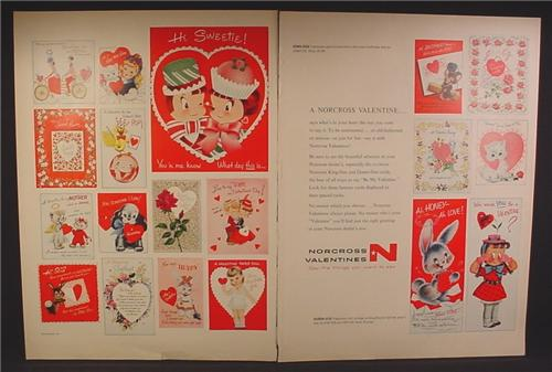 Magazine Ad For Norcross Valentines Day Cards, Greeting Cards, 19 Cards Pictured, 1957