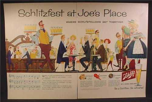 Magazine Ad For Schlitz Beer, Schlitzfest At Joe's Place, Be A Schlitzer, 1957, Double Page Ad
