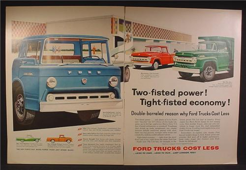 Magazine Ad For Ford Commercial Trucks, F-750, Styleside Pickup, Tilt Cab, 1957, Double Page Ad