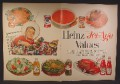 Magazine Ad For Heinz Jet Age Values, Boy in Space Suit Costume in Shopping Cart, 1958