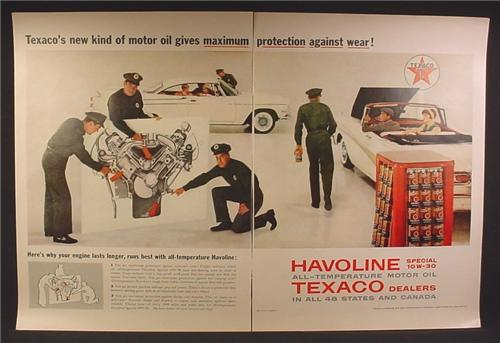 Magazine Ad For Texaco Havoline Special 10W-30 Motor Oil, Display Rack, Attendants, 1958
