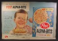 Magazine Ad For Post Alpha-Bits Cereal, Sugar Sparkled ABC's, Alpha Bits, Spoonful of Health, 1959