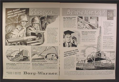 Magazine Ad For Borg Warner Ripley's Believe It Or Not, Plastic Artillery Shells 1958 Double Page