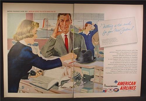 Magazine Ad For American Airlines, Stewardess, Reservations Personnel, 1958, Double Page Ad