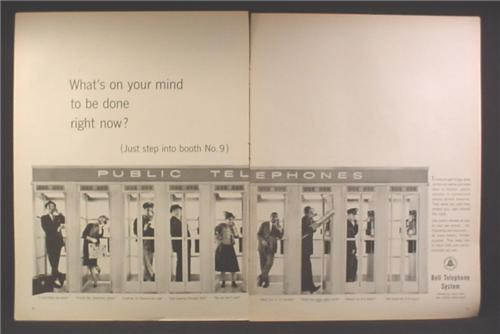 Magazine Ad For Bell Telephone System, Rows of Public Phone Booths, 1962, Double Page Ad