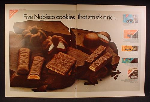Magazine Ad For Five Nabisco Cookies That Struck It Rich, Chocolate Pinwheels Cakes, 1962