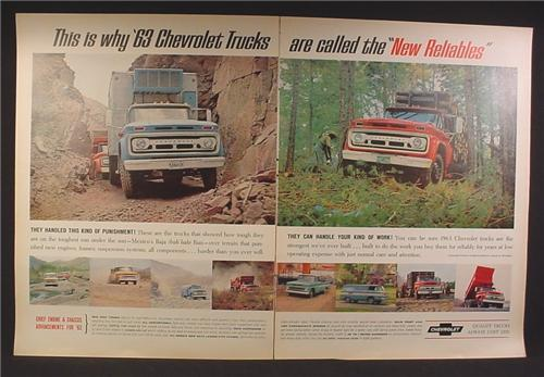 Magazine Ad For Chevrolet Commercial Trucks, Mexico Baja Run, Truck Hauling Timber, 1963
