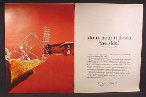 Magazine Ad For Budweiser Beer, Don't Pour It Down The Side Of The Glass, 1964, Double Page Ad