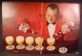 Magazine Ad For Schlitz Beer, Bar Tender Pouring Bottles Into Glasses, Coasters, 1964, Double Page