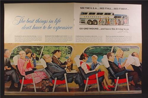 Magazine Ad For Greyhound Bus Lines, Interior View of Rows Of Seats With Passengers, 1965