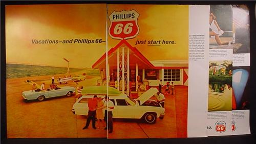 Magazine Ad For Phillips 66 Gas Station, Service Station, Vacations, 1966, 5 Page Ad