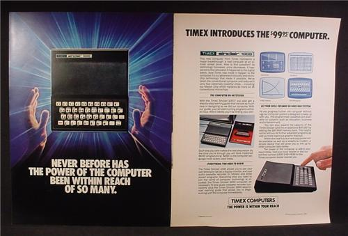 Magazine Ad For Timex Sinclair 1000 Computer, 100 Dollar Computer, 1982, Double Page Ad