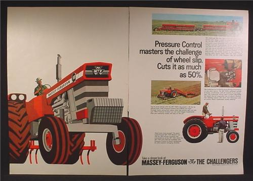 Magazine Ad For Massey Ferguson Farm Equipment, Tractor, The Challengers, 1968, Double Page Ad