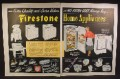 Magazine Ad For Firestone Home Appliances, 19 Different Models Pictured, 1950, Double Page Ad