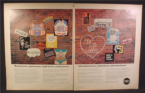Magazine Ad For CBC Television, Brick Wall With Posters From Television Shows, 1969, Double Page Ad