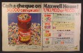 Magazine Ad For Maxwell House Coffee, Collect Stamps To Redeem For Money, 1972, Double Page Ad