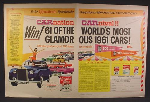 Magazine Ad For Carnation Carnival Contest, Win 61 Cars, Carnation Evaporated Milk, 1960