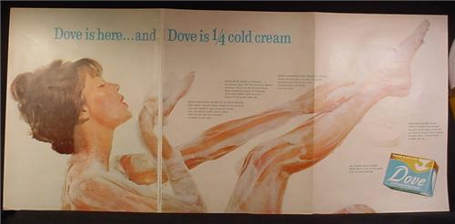 Magazine Ad For Dove Soap, 3 Page FoldOut, Woman Covered in Soap Lather, 1960, Double Page Ad