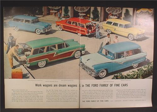 Magazine Ad For Ford Station Wagon Cars, 5 Models, Custom Ranch, Mercury Monterey, 1956