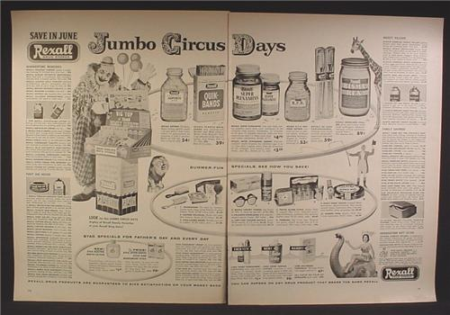 Magazine Ad For Rexall Drug Store Jumbo Circus Days Sale, Clown, Elephant, 1956, Double Page Ad