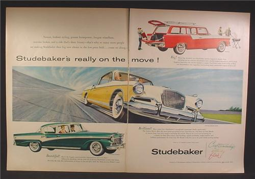 Magazine Ad For Studebaker Cars, Golden Hawk, Pelham, President Classic, 1956, Double Page Ad