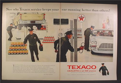 Magazine Ad For Texaco Dealers, Service Attendants, Stacks of Oil, Car on Hoist, 1958, Double Page